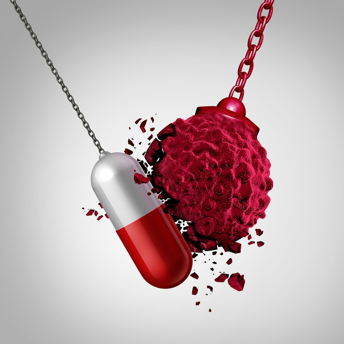 A pill on a chain swinging into and breaking a wrecking ball.