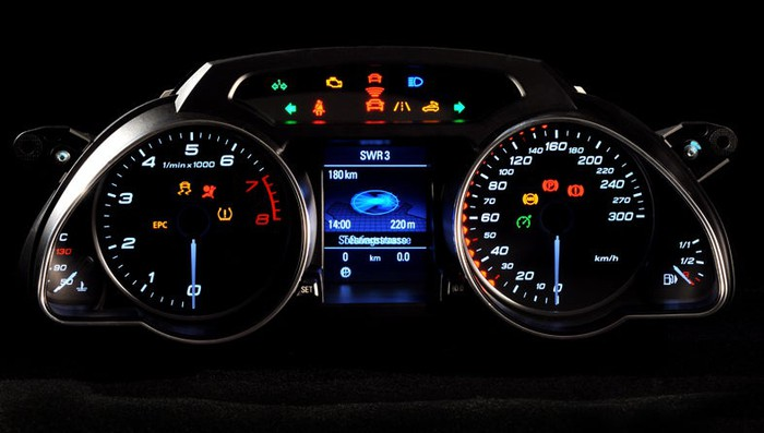 A dashboard instrument cluster, with a tachometer, speedometer, and other indicators visible
