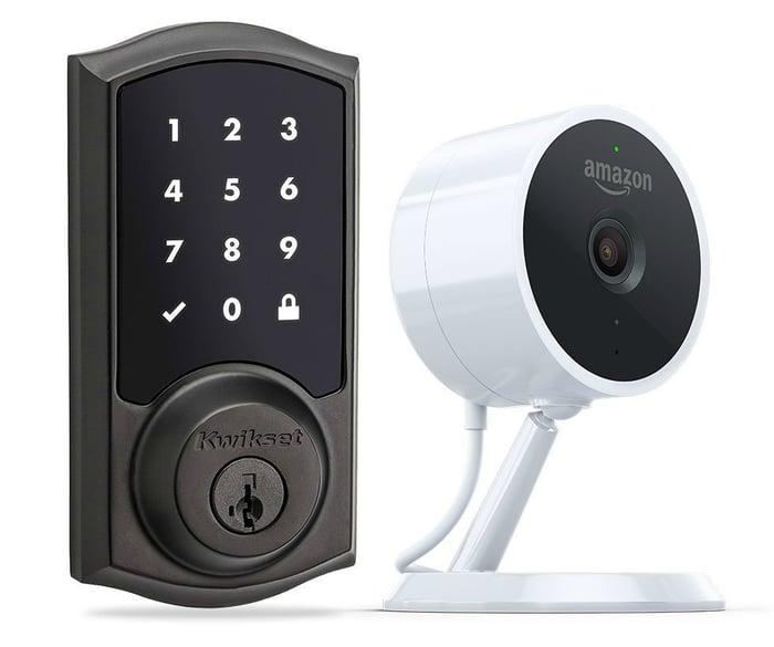 A keypad doorlock and a camera.