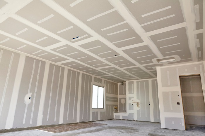 Drywall in a house under construction.