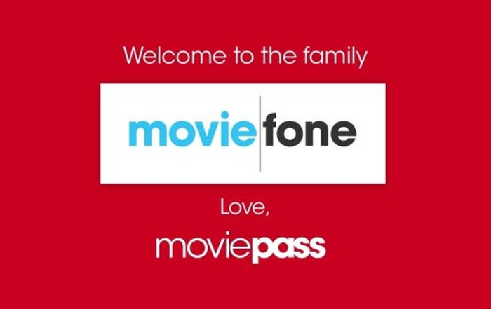 A simple banner with the text, Welcome to the family Moviefone. Love, MoviePass.