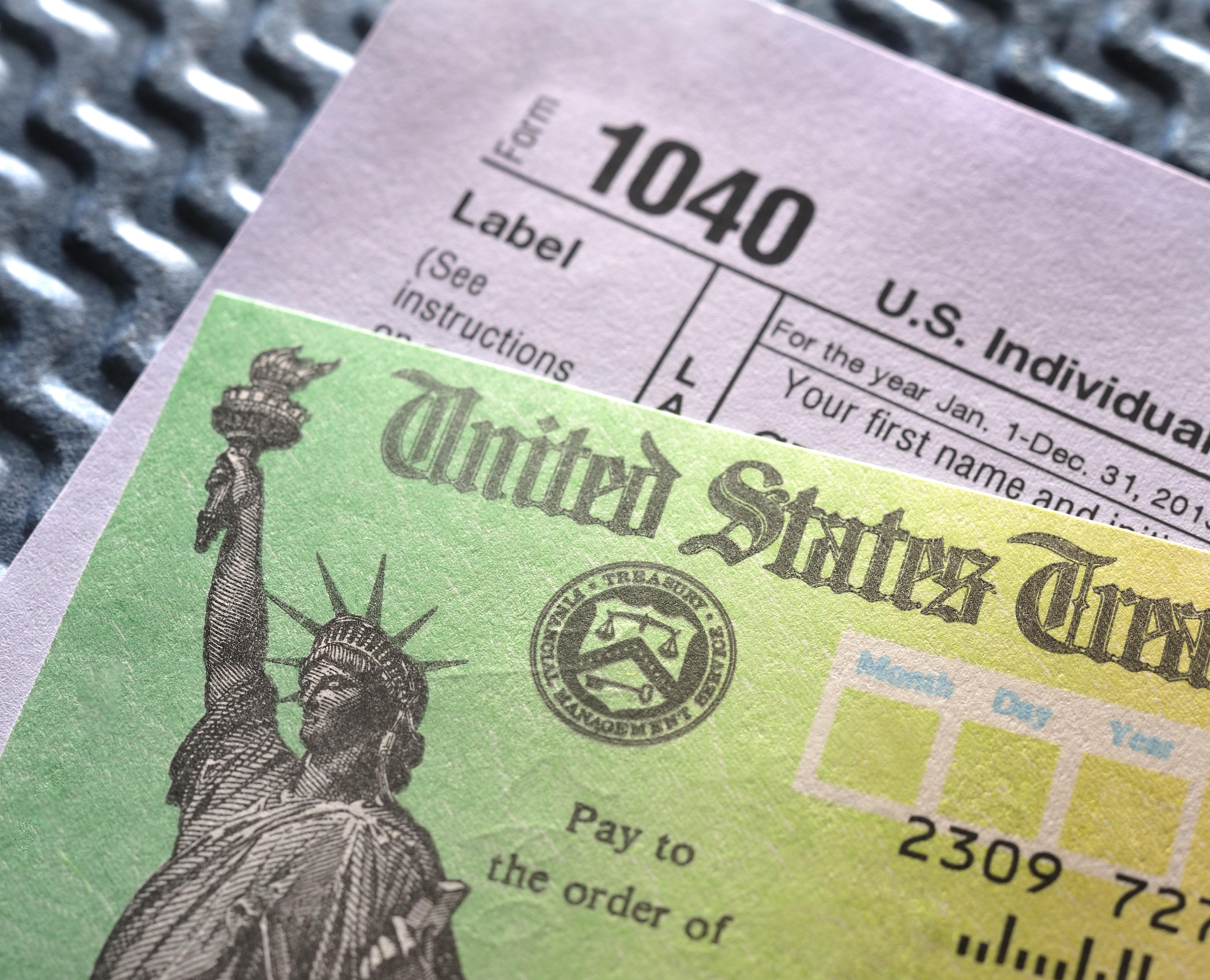 Tax refund checking sitting on tax retun