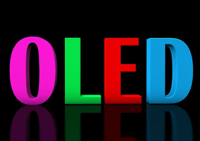 OLED spelled out in colored letters