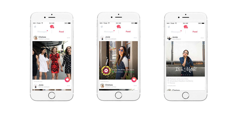Screenshots of the Tinder app showing a match