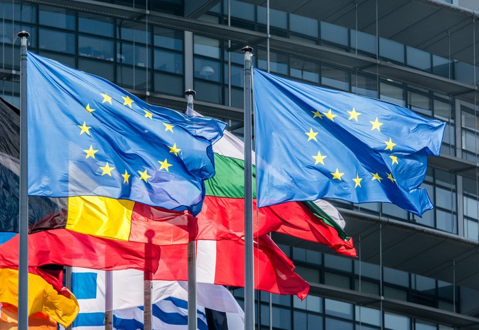 A row of European country flags flying in front of a building.