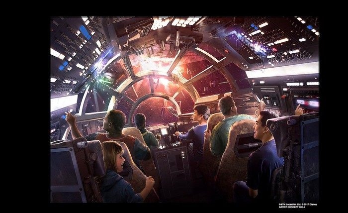 An artists rendering of park visitors in a ride based on the cockpit of the Millennium Falcon.