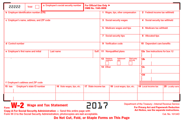 Empty W-2 sample tax form.