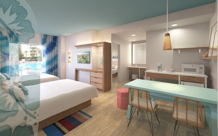 Interior concept art for Dockside and Surfside rooms.
