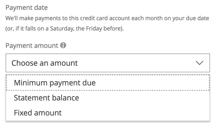 Autopay options for Chase.