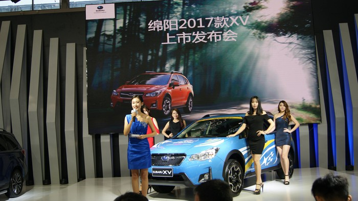 Auto convention show floor in China.