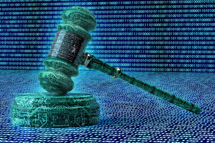 A judge's gavel surrounded by binary code.
