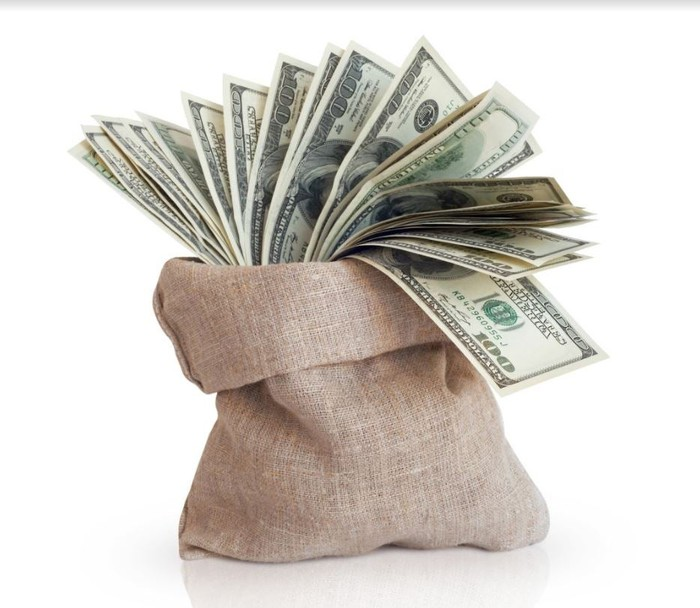 A picture of a bag of money