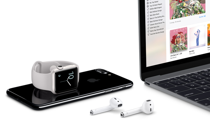 the apple iPhone, Watch, Airpods, and Macbook