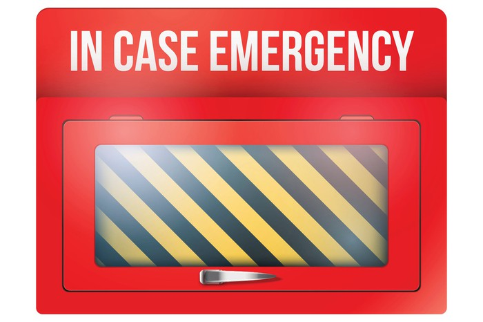 A red box with In Case Emergency printed on top