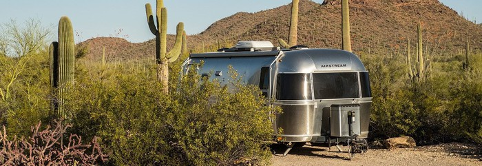An Airstream trailer parked amidst saguaro cactuses