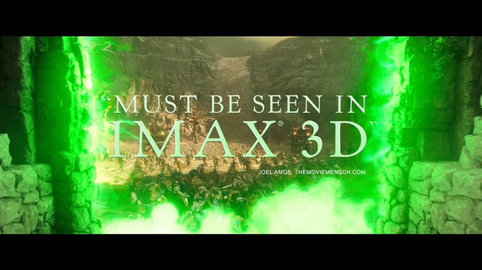 A green screen saying the words Must Be Seen in IMAX 3D for Warcraft on IMAX.