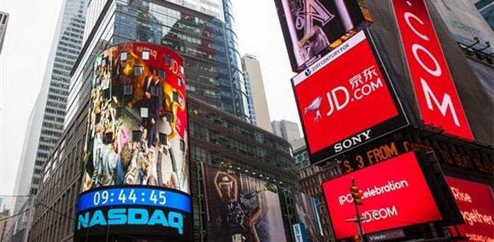 An ad for JD.com in New York's Times Square