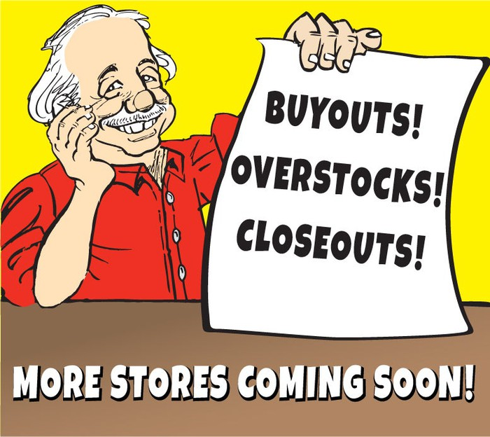 "Ollie's mascot is holding a paper that reads ""Buyouts! Overstocks! Closeouts!"" while the picture reads more stores are coming soon."