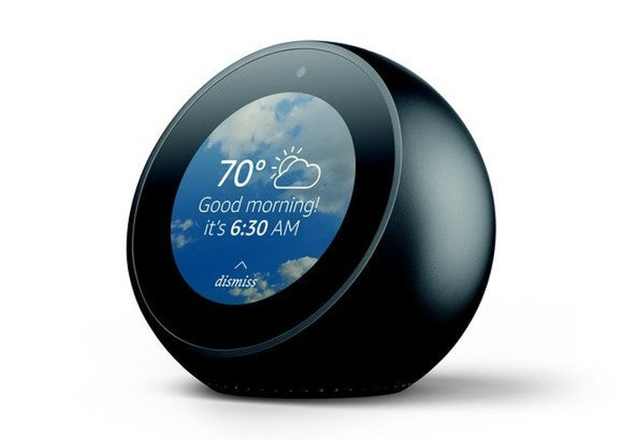 Amazon.com's Echo Spot displaying a good morning screen.