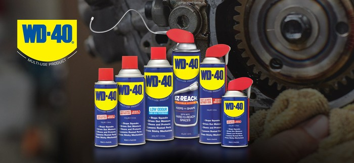 Cans of WD-40 brand products.