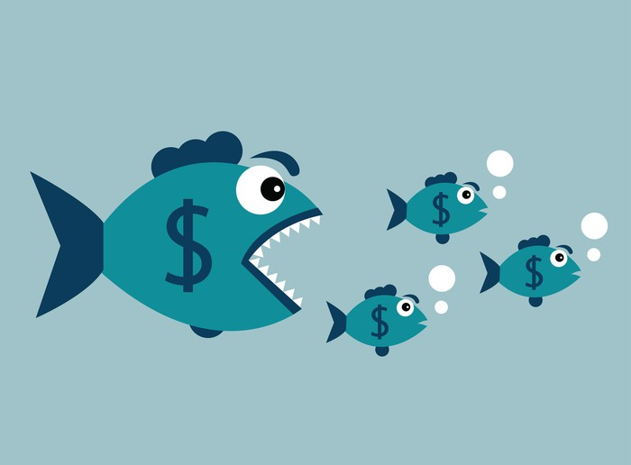 A big fish with dollar sign chasing smaller fish.