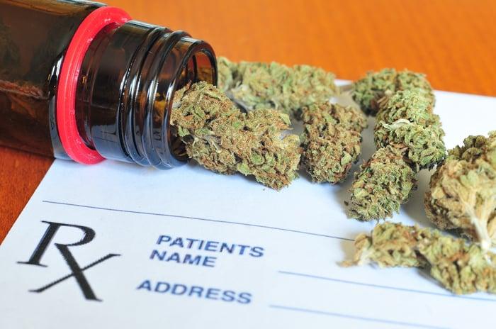 Marijuana buds on top of prescription form