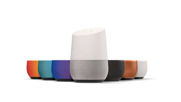 Google Home speakers lined up in seven colors