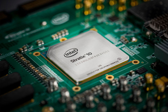 An Intel Stratix 10 FPGA chip mounted onto a motherboard.