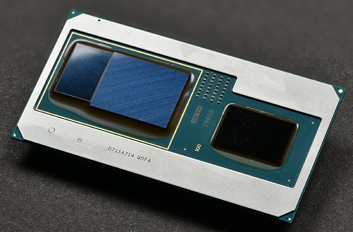 An Intel processor that integrates AMD graphics on the same package.