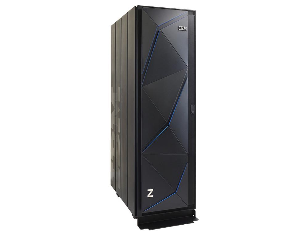 IBM's z14 Model ZR1 single-frame mainframe standign against a white background.