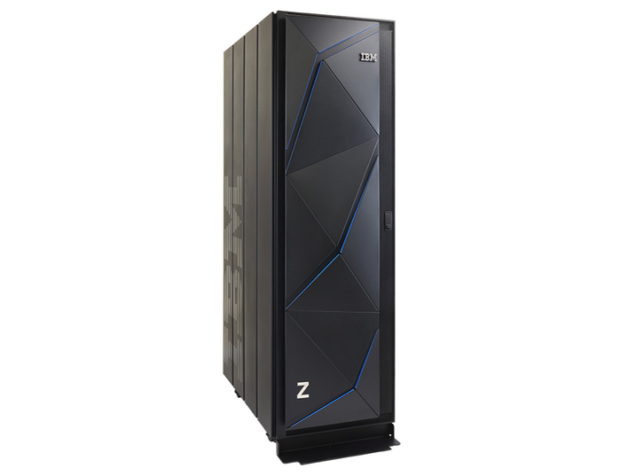 IBM's z14 Model ZR1 single-frame mainframe standign against a white background.