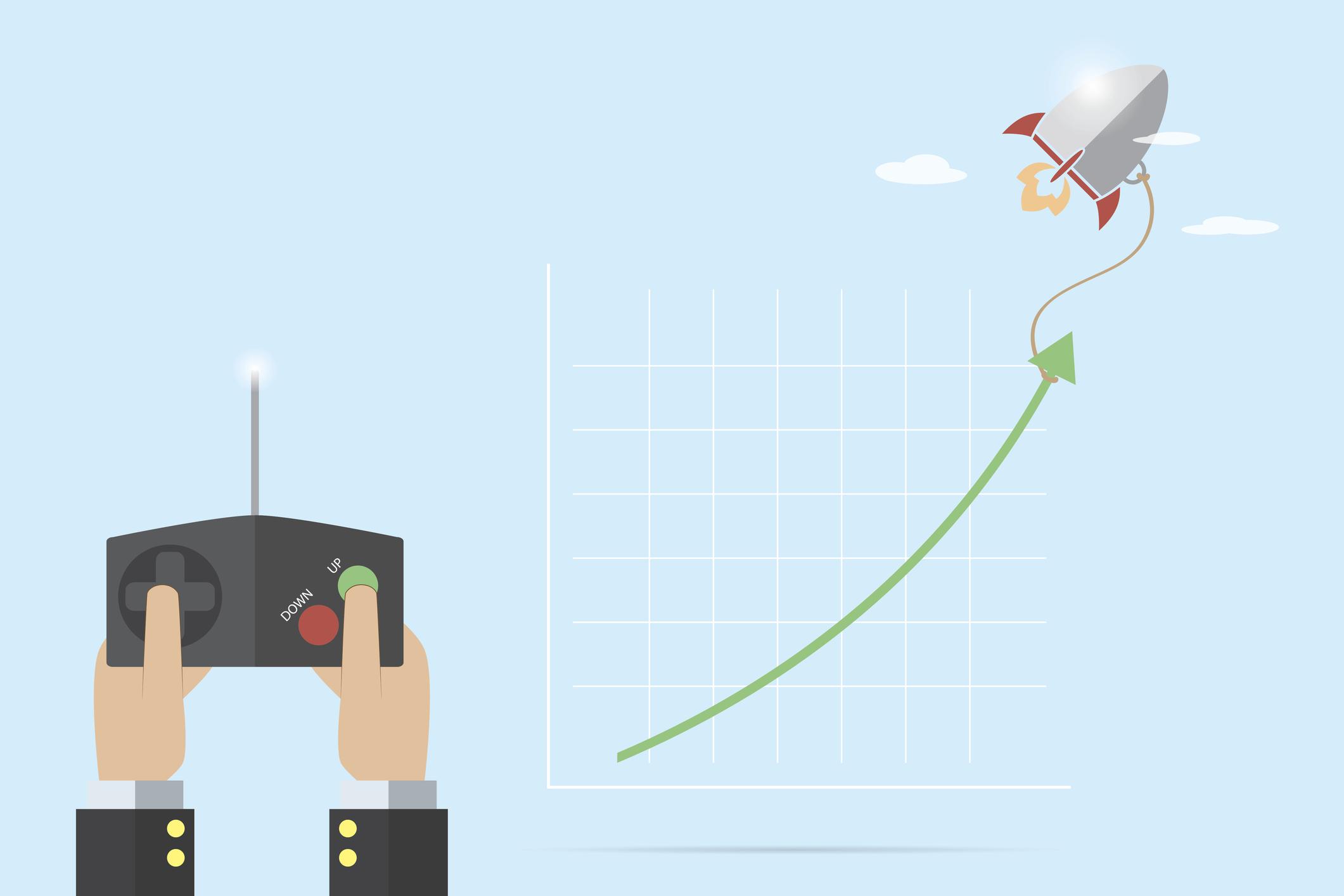 Cartoon of a remote control sending a drone upward