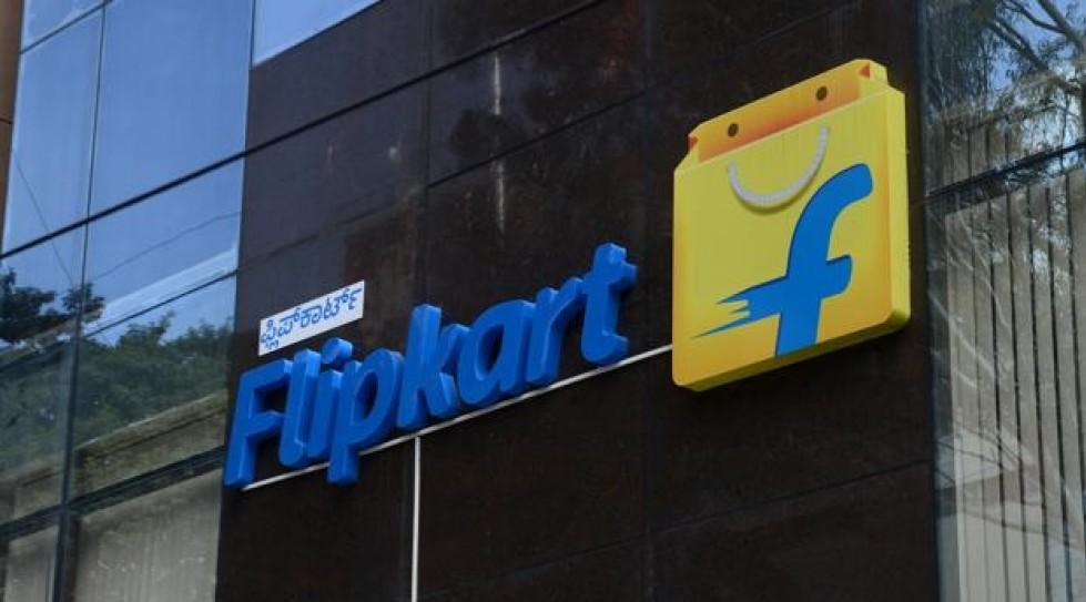 Flipkart logo on its office building.
