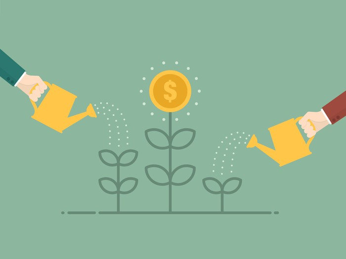 An illustration of two people watering three plants, with the plant in the middle sprouting a flower that has a dollar sign in the middle.