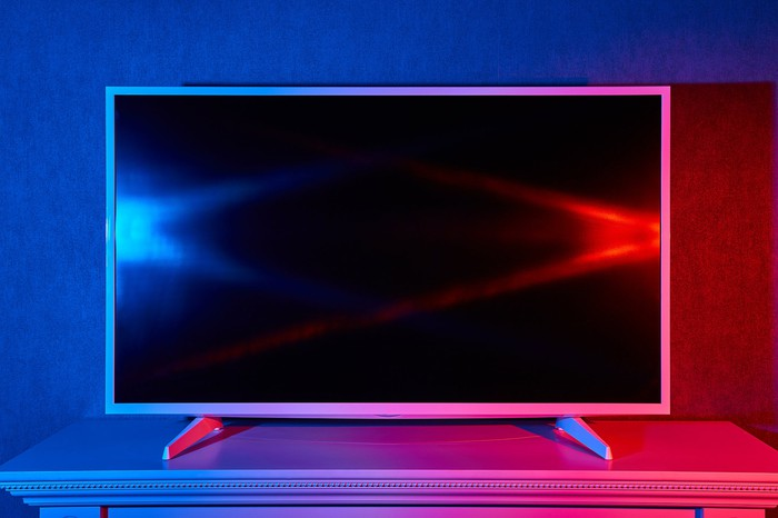 LCD TV on a stand.