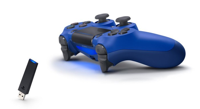 A wireless PS4 controller.