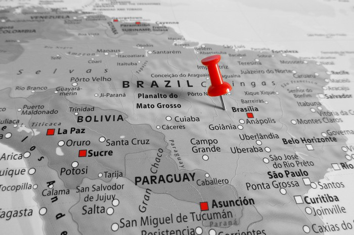 Map of Brazil with a red pin marking it