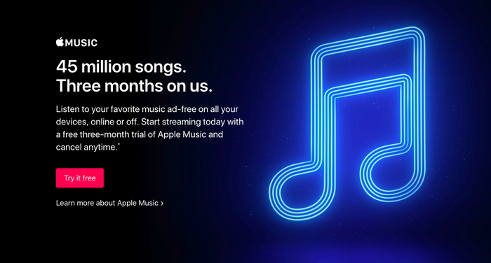 A big blue music note on an ad banner for Apple Music