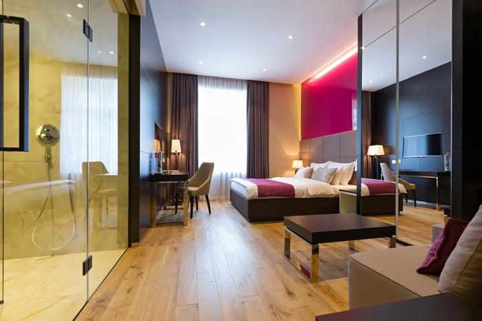 A modern hotel room.