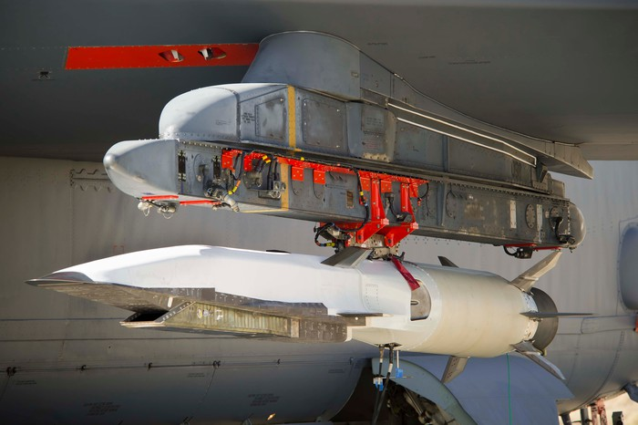 Hypersonic rocket mounted on B-52 wing.