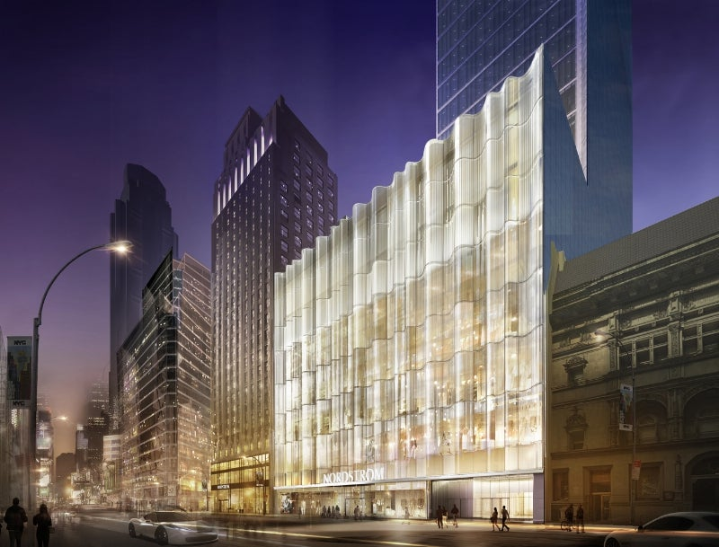 A rendering of the exterior of the future Nordstrom flagship store in Manhattan