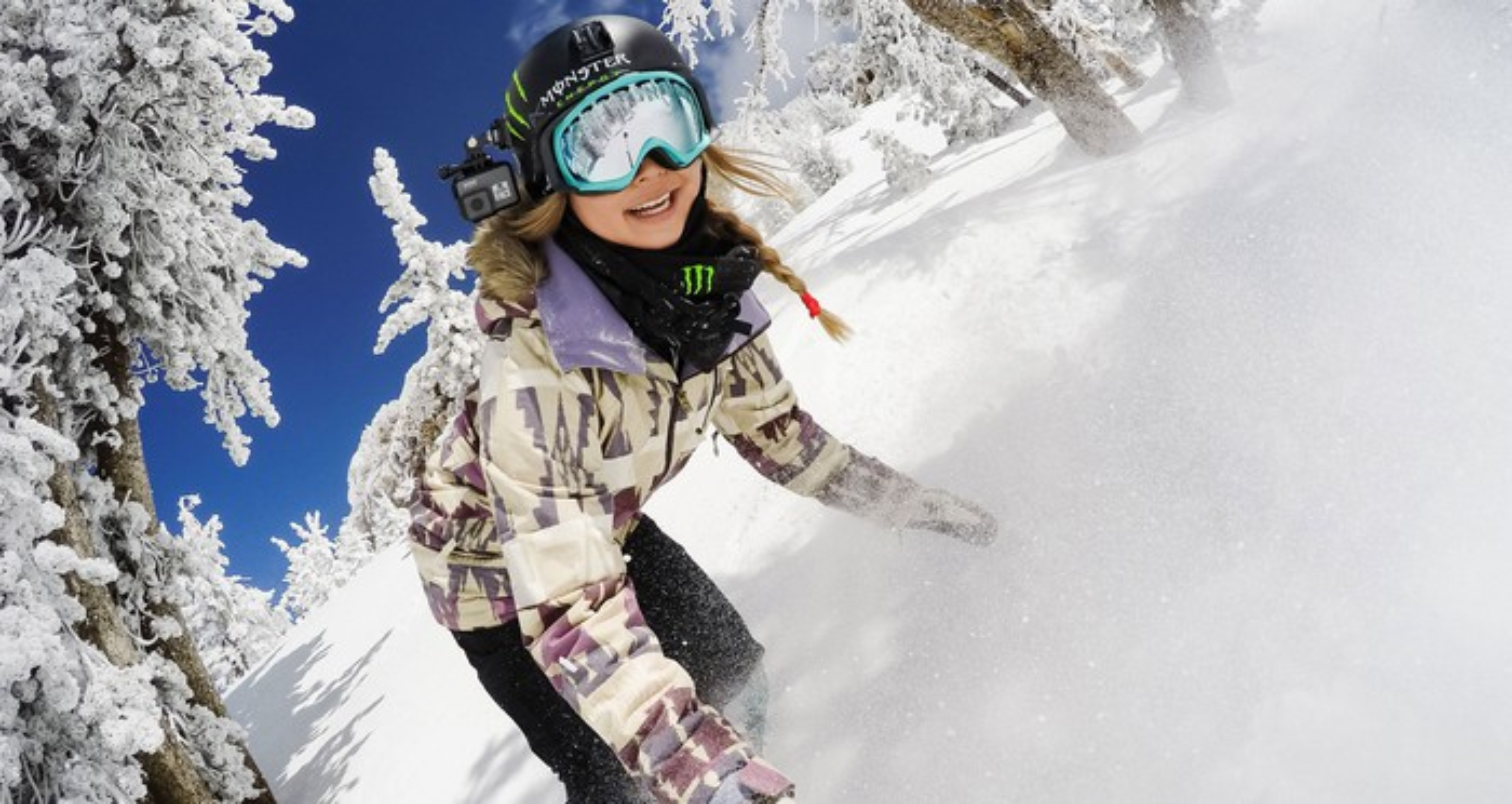 Snowboarder wearing a GoPro camera