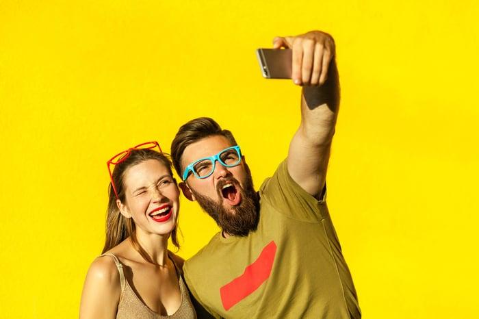 Hipsters taking selfie