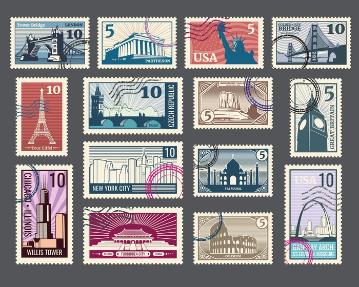 A collection of stamps displaying different landmarks from around the world.
