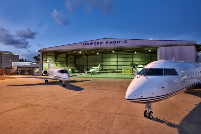 Hawker Pacific hanger, with airplanes in front.