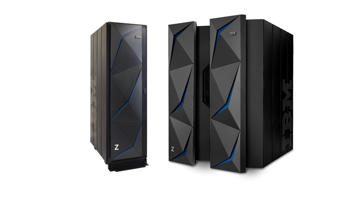 The full-size z14 mainframe and the single-frame version.
