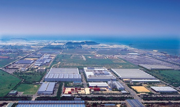 An overhead view of the GM Korea manufacturing complex in Gunsan