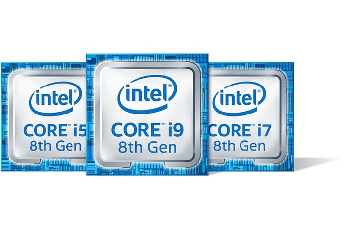 Three Intel Core i9 8th Gen processor badges agsinst a white background.