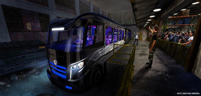 Concept art for the neon party bus used in Fast & Furious: Supercharged at Universal Studios Florida