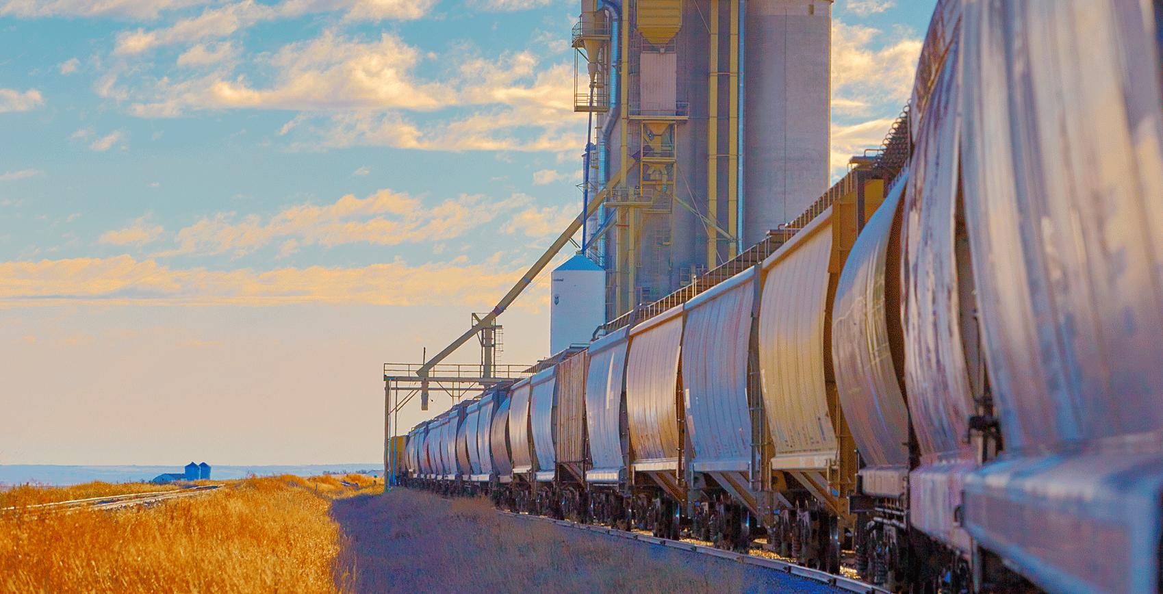 Train running alongside a field and a grain elevator..